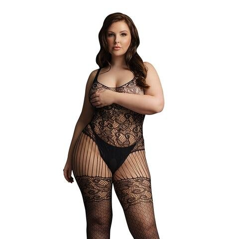 Le Desir Black Lace and Fishnet Bodystocking UK 14 to 20