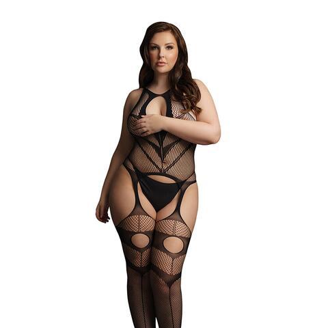Le Desir Black Suspender Bodystocking UK 14 to 20