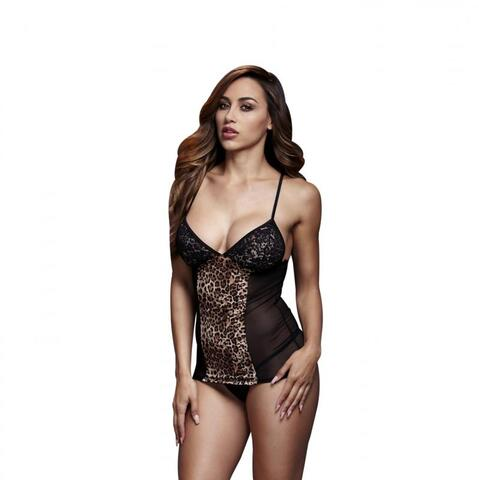 Baci - Sexy Top With Lace Cups and Leopard Print