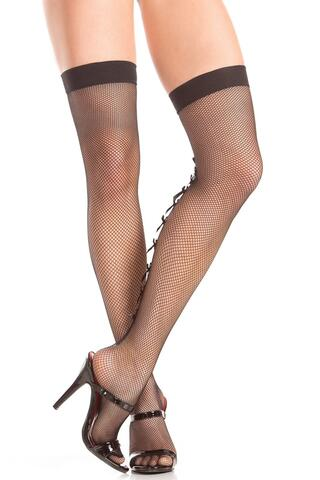 Fishnet Stockings With Backseam And Bows