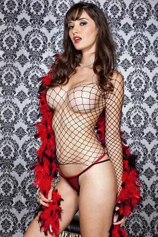 Fishnet Top With Long Sleeves And String
