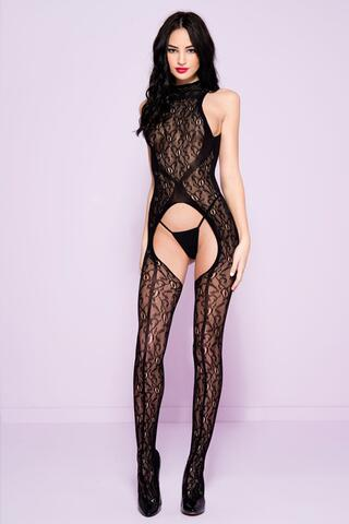 Lace Catsuit With Opening And Open Back
