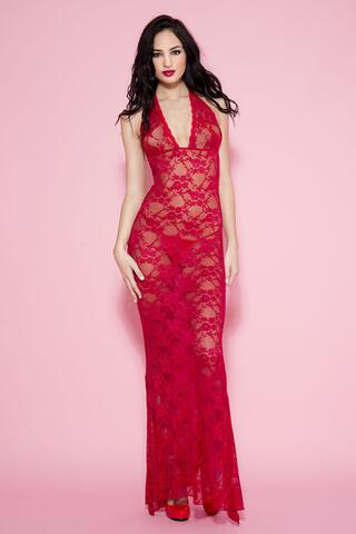 Long Lace Halterjurk - Red
