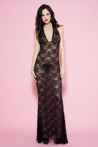 Long Lace Halterneck Dress - Black