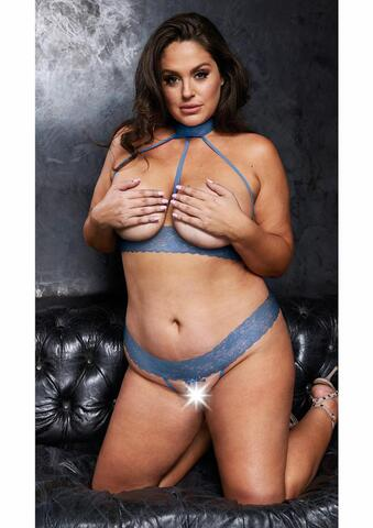 Open Halterneck Bra & Crotchless G-String - Queen Size - Blue