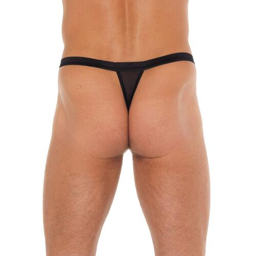 Mens Black G-String With White Pouch