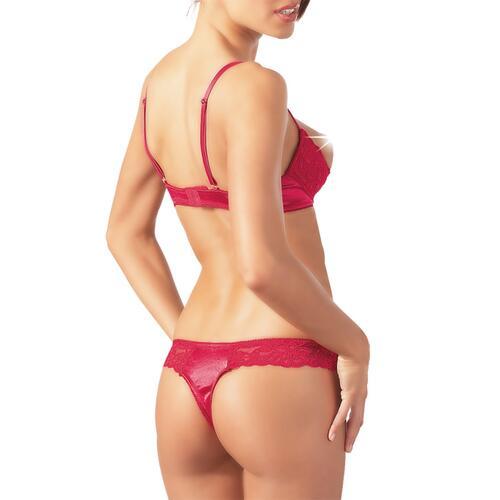 Red Lace Open Bra Set