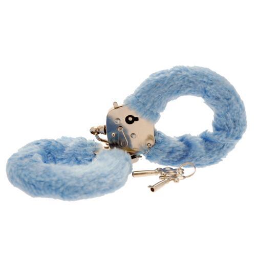 Toy Joy Furry Fun Hand Cuffs Pale Blue Plush