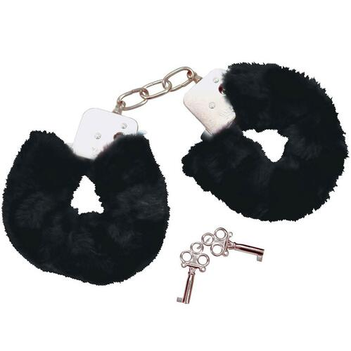Black Plush Handcuffs