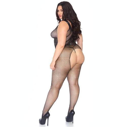 Leg Avenue Crystalized Net Bodystocking Plus Size UK 18 to 22