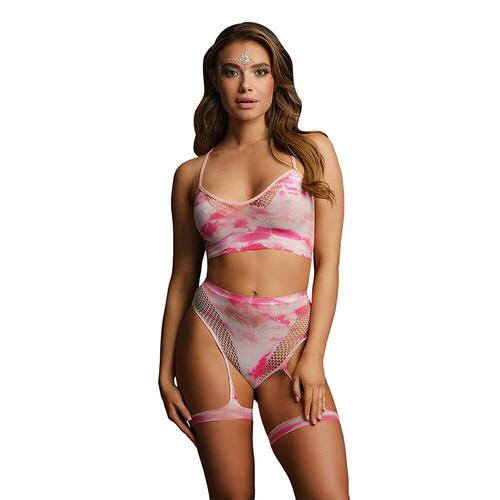 Le Desir Bliss Tie Dye 2 Piece Set With Garters UK 6 to 14
