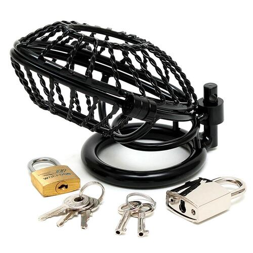 Opening Metal Male Chastity Device With 2 Padlocks