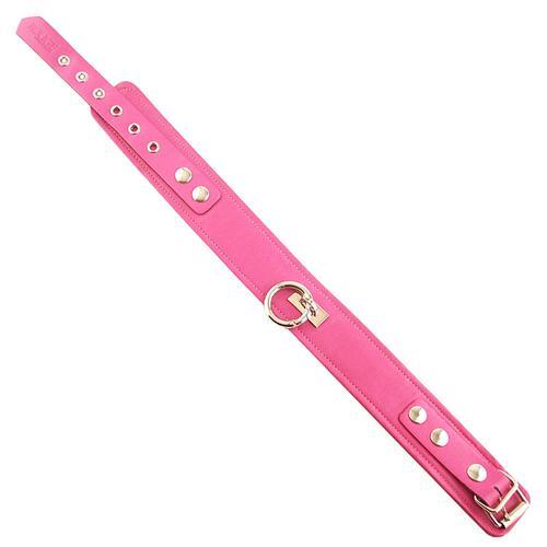 Plain Pink Leather Collar