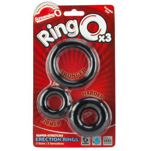 Ring O x 3 Black Cockrings