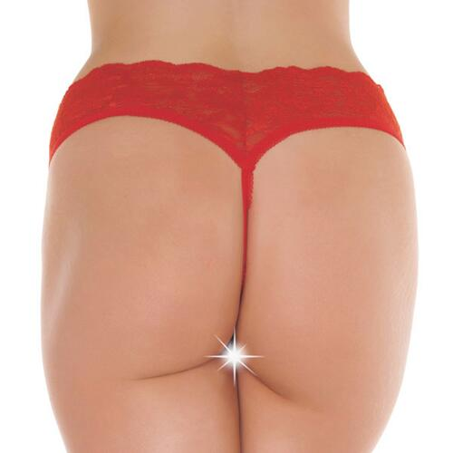 Red Lace Open Crotch G-String
