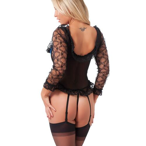 Blue And Black Basque With G-String And Stockings