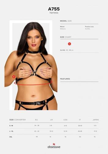 Adjustable Bra Harness Patent Leather - Curvy