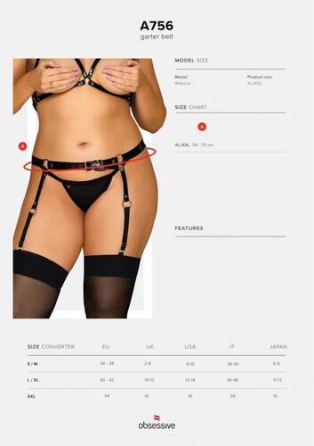 Adjustable Garter Belt Patent Leather - Curvy