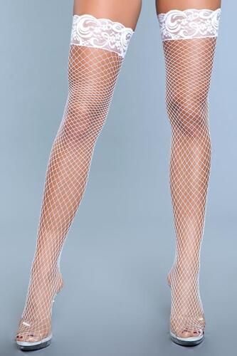 Amber Fishnet Stockings With Lace - White