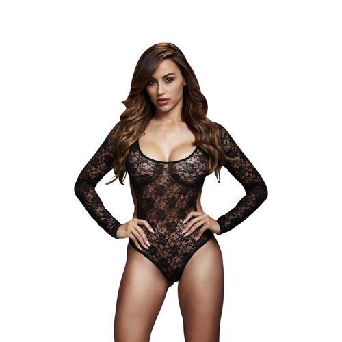 Baci - Lace Bodysuit With Open Back - Black