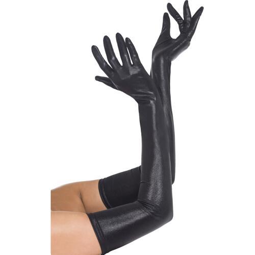 Black Long Wetlook Gloves