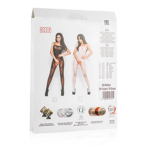 Black Mesh Bodystockings With Suspender Design