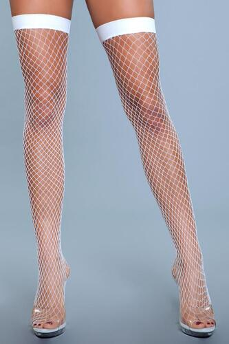 Catch Me If You Can Fishnet Stockings - White