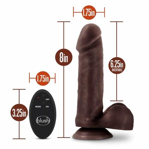 Dr. Skin-  8 inch 10 Function Wireless Remote Dildo - Chocolate