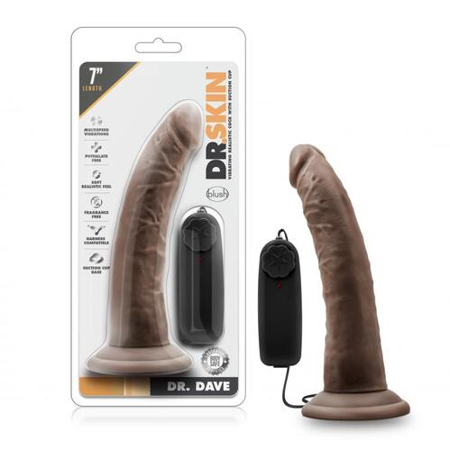 Dr. Skin - Dr. Dave Vibrator With Suction Cup - Chocolate