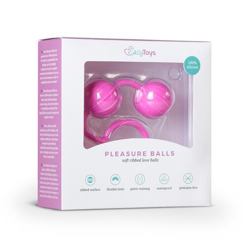 Easytoys Vertical Ribbed Geisha Balls - Pink