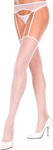 Fishnet garterbelt and stockings - white