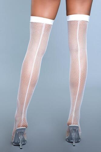 Great Catch Fishnet Backseam Stockings - White