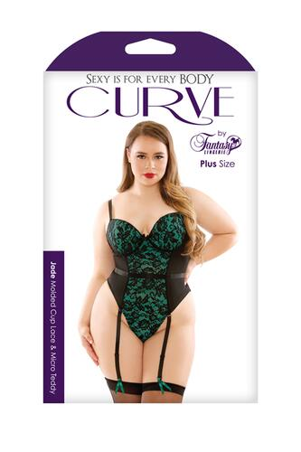 Jade Garter Corset With Lace - Black/Green