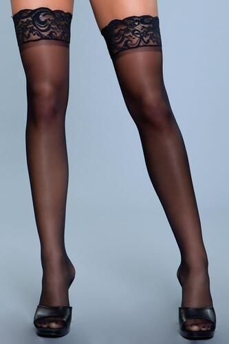 Lace Over It Hold-Up Stockings - Black