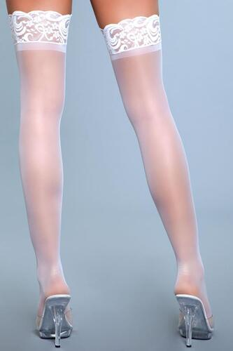 Lace Over It Hold-Up Stockings - White