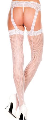 Lace top backseam garterbelt stockings WHITE