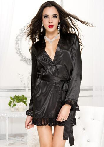Long sleeve robe with lace trim BLACK