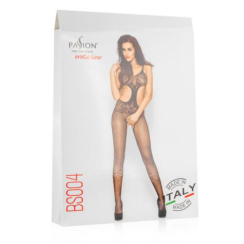 Net Bodystocking With Open Crotch - Black