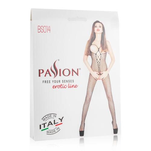 Net Catsuit With Open Cups - Black