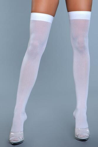 Thigh High Nylon Stockings - White