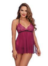 Raspberry Stretch Lace Babydoll with Lace Panty Set