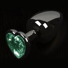 Dolce Piccante Graphite Style Small Butt Plug Green Heart Gem