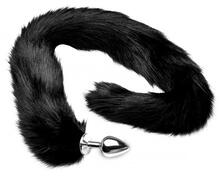Extra Long Midnight Mink Tail Metal Anal Plug
