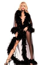Full-Length Robe With Feather Trim - Black