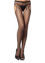 Net Garterbelt Pantyhose - Black