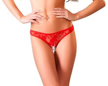 Red lace string with open crotch