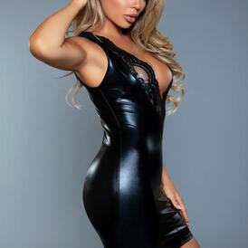 Lassy Wetlook Dress With Lace Details