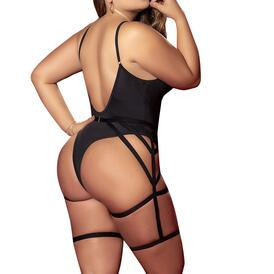 Plus Size Wet Look Bodysuit