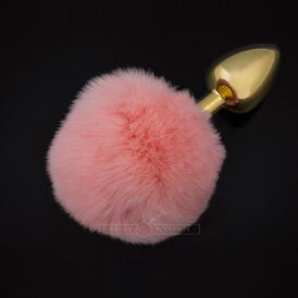 Jewellery Plug With Tail  Small Pink