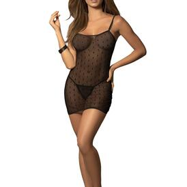 Dotted Mesh Fitted Babydoll with Matching G-String
